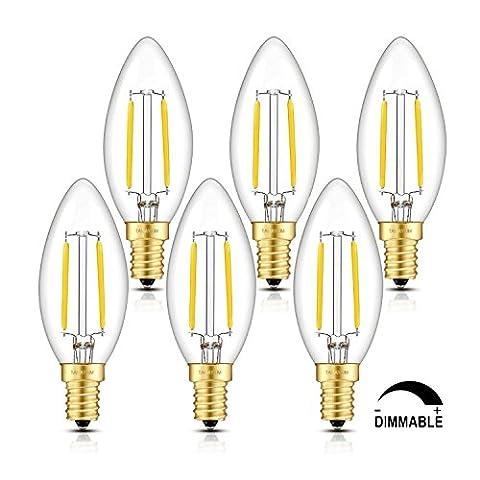 TAMAYKIM C35 2W Dimmable Ampoule Filament LED - 4000K Blanc Neutre 250lm - 2 Watts Consommés - Équivalent 25W - Culot E14 - Forme Torpedo - Angle de Faisceau 360° - Lot de 6