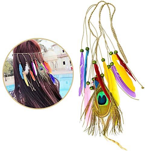 cococity Indianer Stirnband mit Federschmuck Feder Quasten Stirnband Damen Haarschmuck Kopfkette für Festival Halloween Karneval Party (mehrfarbig) (Pfau Kostüm Für Jugendliche)