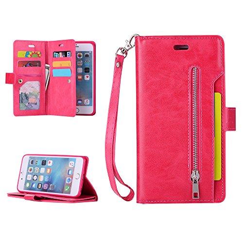 iphone6G plus/iphone6S plus Hülle Badalink Handyhülle Minzgrün Leder PU Case Cover Flip Case Schutzhülle Kartensteckplätzen und Ständer Handytasche Rosarot