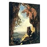 Bilderdepot24 Kunstdruck - Alte Meister - Carl Spitzweg - Gnom, Eisenbahn betrachtend - 60x80cm Einteilig - Leinwandbilder - Bilder als Leinwanddruck - Bild auf Leinwand - Wandbild