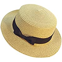 BIBOKAOKE Visera de Sombrero de Paja para Mujer f2ba0b30ba2