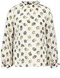 TAIFUN Damen Bluse Langarm Bluse mit Rüschenkragen Vanilla Druck 34