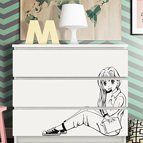 pergrandora-w5247-adesivo-murale-manga-ragazza-adatto-a-ikea-hemnes-e-malm-cassettiera-grigio-medio-
