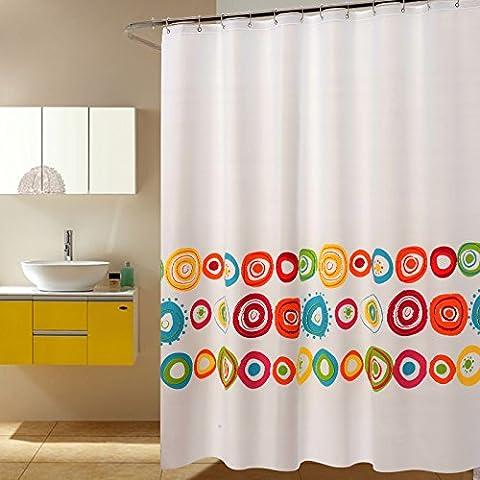 Dreamingces Rideaux de douche rideau de salle de bains imperméable à l'eau mouldproof facile à installer et propre tissu rapide-sec maintiennent le plancher sec des éclaboussures Points de couleur 180*260cm