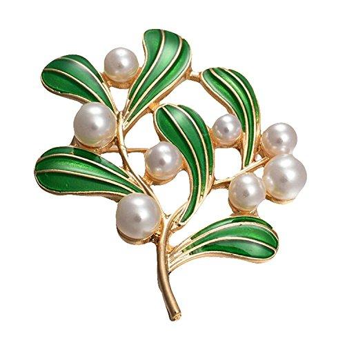 SODIAL 1 x Retro Perle Brosche Emaille Tropfen Baum Blaetter Brosche Strass Bedeckt Fuer Frauen Damen