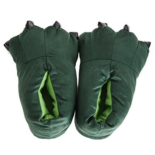 TOOGOO Pantoufles Unisexes Combinees en Forme de Pieds des Animaux Pantoufles de Mokomoko Chaussure Chaudes de Chambre Chaussures Douces et moelleuses Chaussures D'Hiver (Vert, M)