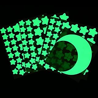 Oumers Glow in the Dark Stars Moon, 4 Packs of Adhesive Wall Ceiling Decals for Baby Kids Bedroom Nursery Home