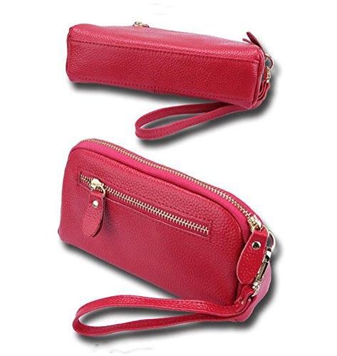 b3431790125d2 DcSpring Damen Clutch Echt Leder Tasche Elegante Geldbörse Geldbeutel mit  Reißverschluss Rosa ...