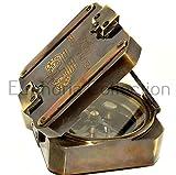Antik Nautisches Schweres Messing Brunton Kompass Kelvin & Hughes London 1917Kompass Vintage Bronze funktionelle Navigation Marine Arbeiten Kompass 7,6cm für Wandern Outdoor Decor Geschenk Sammlerstück Instrument