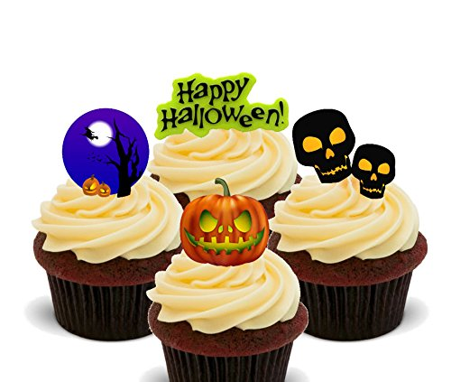 Essbare Cupcake Topper – Stand-Up Wafer Kuchen Dekorationen, 24er-Pack (Friedhof Halloween Dekoration Ideen)