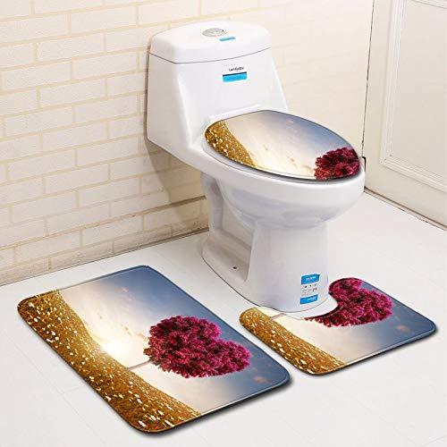BBQBQ Badteppich, 3-teilig, rutschfest, Badteppich, WC-Decke, WC-Sitz, Herzform 3D, C033, 50 * 80cm+40 * 45cm+40 * 50cm (Nasse Decke Kostüm)
