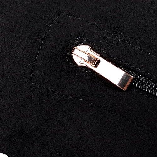 VogueZone009 Donna Tacco Medio Alta Altezza Puro Cerniera Stivali Nero