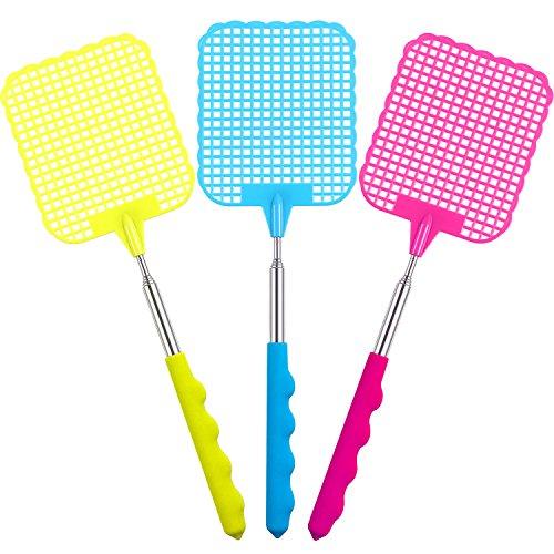 3 Pack de Matamoscas Manual de Plástico Matamoscas Extensible Durable Prevención de Moscas Herrramientas...