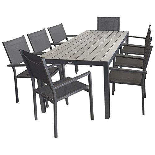 9tlg. Gartengarnitur - Aluminium Polywood Gartentisch 205x90cm + 8x Stapelstuhl mit hochwertiger 4x4 Textilenbespannung - Sitzgruppe Sitzgarnitur Gartenmöbel Terrassenmöbel