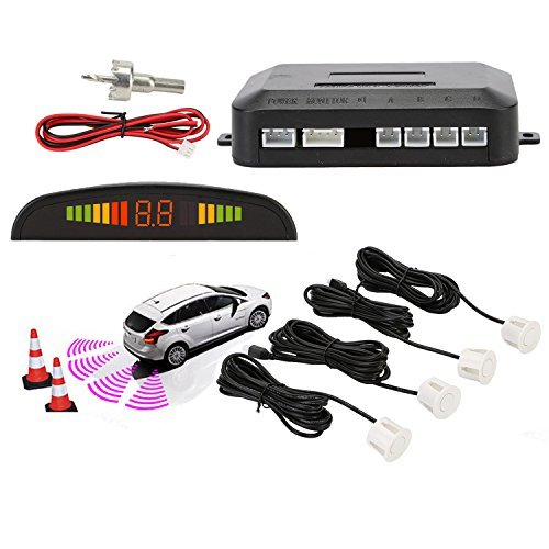 Sensori parcheggio, osan, kit auto led display + suono allarme radar retromarcia antigelo impermeabile + 4 sensori bianco