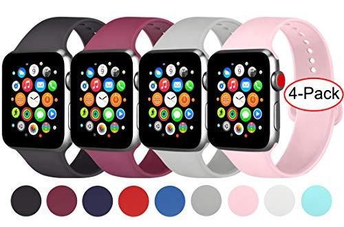 AK 4er-Set Kompatible Für Apple Watch Armband 38mm 42mm 40mm 44mm, Weiche Silikon Ersatz Armband für Apple Watch Series 5/4/2/3/1 (Schwarz/Grau/Weinrot/Rosa, 42mm/44mm-S/M)