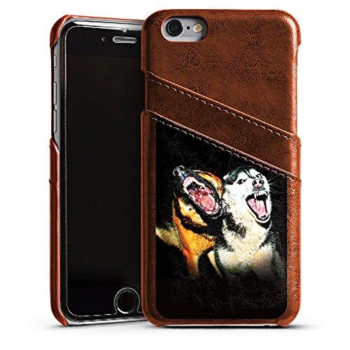 Apple iPhone 4 Housse Étui Silicone Coque Protection Chiens qui aboient Chien Loups Étui en cuir marron