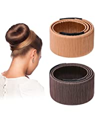 Hotop Cheveux Bun Maker Cheveux Donut Bun Ancien Clip en Mousse de Coiffure Outil de Bricolage, 2 Pièces(Marron foncé, Brun clair)