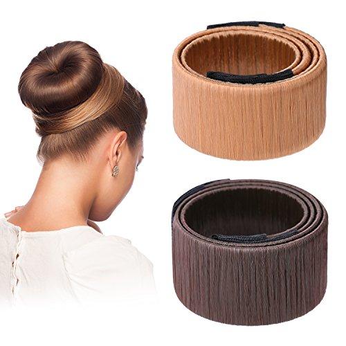 Cheveux Bun Maker Cheveux Donut Bun Ancien Clip en Mousse de Coiffure Outil de Bricolage, 2 Pièces(Marron foncé, Brun clair)