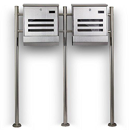 Postkasten Edelstahl Design Doppelstandbriefkasten Zeitungfach Briefkastenanlage Briefkasten Mailbox Eckig mit integireter Zeitungsrolle - 3