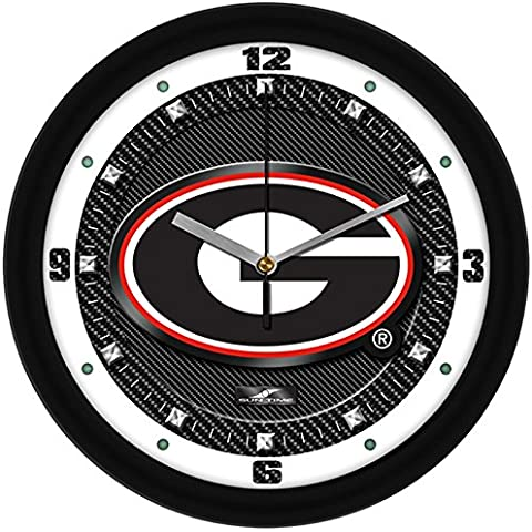 Georgia Bulldogs G Logo on Carbon Fiber Graphic Background 12 Inch Wall Clock by SunTime