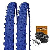 KENDA Set: 2 x K829 BLAU farbige Fahrrad MTB Reifen 26x1.95 + Conti SCHLÄUCHE Dunlopventil