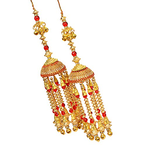 Mansiyaorange Traditional AAA AD Stone Punjabi Bridal Hand Hanging Kaleera for Women (Red, 10-inches)