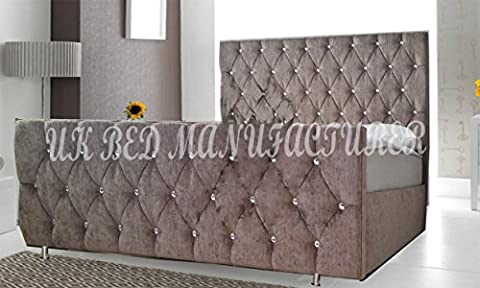 LUXURY FLORIDA UPHOLSTERED CHENILLE FABRIC BED FRAME CRYSTAL DIAMANTE DELUXE HEADBOARD FOOTBOARD (3 FT, 4FT, 4FT6, 5FT, 6FT) (5 FT KING SIZE, MINK
