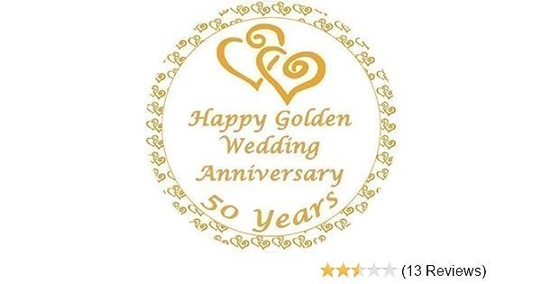 Golden Wedding Anniversary Cake Topper Edible Sugar Icing 75