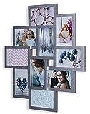 levandeo Fotocollage Bilderrahmen 55x50 mit Glasscheiben für 10 Fotos 10x15cm Silber Fotogalerie Fotorahmen Bilderrahmen Collage