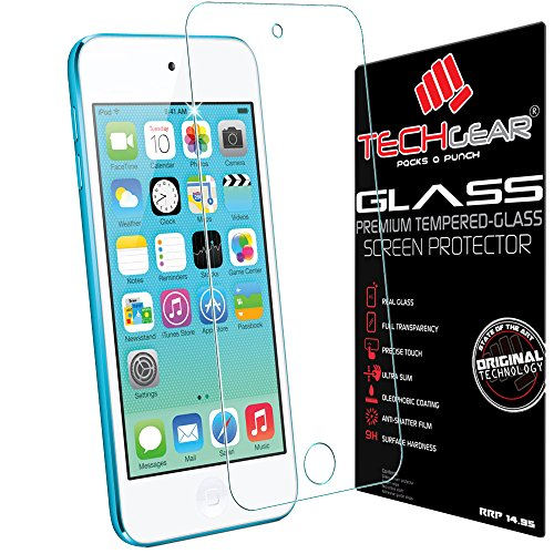 TECHGEAR Apple iPod Touch 6 GLASS Edition Genuine Tempered Glass Screen Protector Guard Cover [iPod Touch 6th Generation (16GB 32GB 64GB 128GB)]
