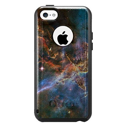 DistinctInk Fall für iPhone 5C Otterbox Commuter Gewohnheits-Fall Blau, Rosa, orange Carina-Nebel auf schwarzen Kasten (5c Fällen Otter Box Blau)