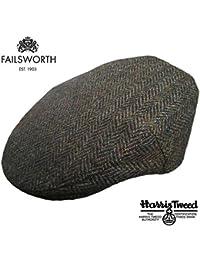 Failsworth Stornoway Genuine Harris Tweed Flat Cap Brown/Green
