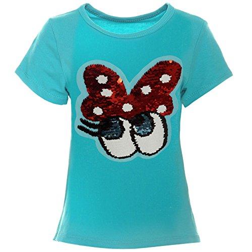 BEZLIT Kinder Mädchen Kurzarm T-Shirt mit Wende Pailletten Sweat 21399, Farbe:Grün, Größe:152