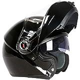 Harleeyr Motorradhelm Casco De Moto Cafe Racer Helm Flip-up Vollgesichts-Doppelscheibenvisier Capacetes De Motociclista Gloss Black XXL