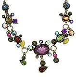 Collar de Cadena Bonze Color - Collar de Piedra Cristal con pedrería Multicolor - Collar de Colgantes para Mujer