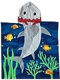Stillshine 100% Baumwolle Kinderbad Kapuzen Bademäntel Jungen Mädchen Handtücher Kinder mit Kapuze Beach Swimming Kapuzenponchos Schwimmen Bad Handtuch Badetuch (Große Hai, 60 x 70 cm)