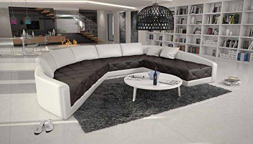 XXL Wohn-Landschaft mit Kunstleder Bezug 380x290 cm halbrund dunkelbraun / weiß | Retosec | Designer Eck-Sofa mit gesteppter Sitzfläche Ottomane links | Couch für Wohnzimmer dunkelbraun / weiss -