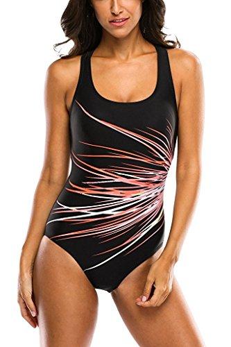 Attraco Badeanzug Damen Figurformend Badeanzüge Racer-Back Sport Bademode Schwarz Rot XL (Schwimmen Badeanzug)