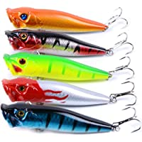 5pcs/lot fishing lure hard plastic Poper 5color fishing bait 9.5cm/12g fishing tackle 8# high carbon steel anchor hook