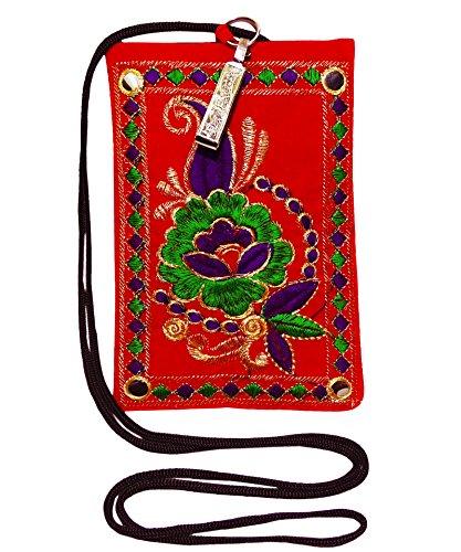 Le Donne Indiane Borsa Cinghia Lunga Elegante Sacchetto Della Moneta Sacchi Di Denaro Ricamo Borsa A Tracolla rosso-A
