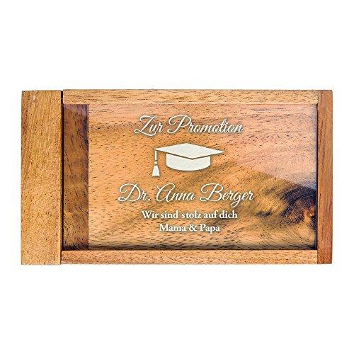 Magische Geldgeschenkbox mit Gravur zur Promotion - Personalisiert mit [Wunschnamen] - [Motiv Hut] - Knobelspiel als Verpackung für Geldgeschenke zum Doktortitel - Geschenkidee zum Abschluss
