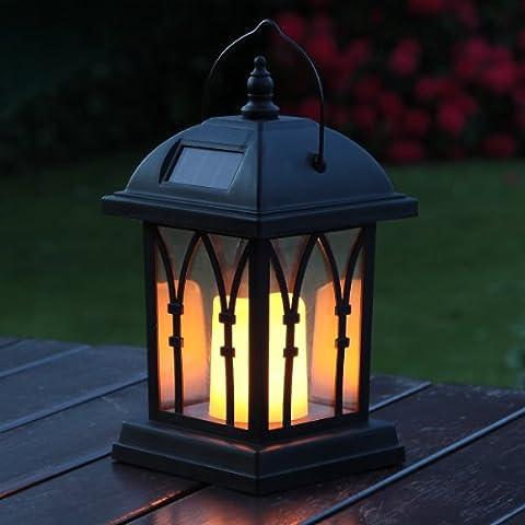 Solaire Exterieur - Lanterne Solaire Noir Mat avec Bougie LED