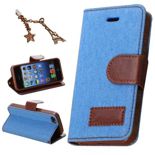 Uming® Il modello della stampa della custodia per armi variopinta della copertura Holster Cover Case ( Fabric cover - black - per IPhone 6Plus 6SPlus IPhone6S Plus IPhone6 Plus ) Flip-artificiale in p Denim blue