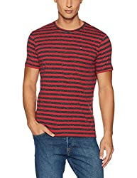 Tommy Hilfiger Mens T-Shirt (8907504789320_A7ATK187_Medium_Salsa/Black Iris Htr)