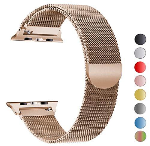 Tervoka Ersatz Armbänder für Apple Watch Series 4 44mm und Series 3/2/1 42mm Champagner Milanese Mesh Loop mit Magnetverschluss Edelstahl Armband