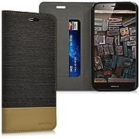 kwmobile Funda para Huawei G8 / GX8 - Case con tapa cover de tela con cuero sintético - Carcasa plegable antracita marrón