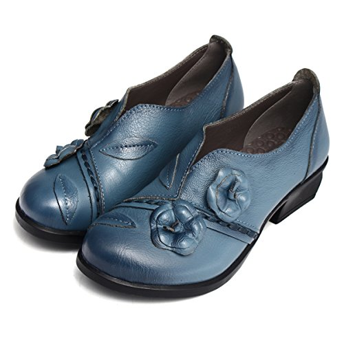 Socofy Damen Pumps, Damen Leder Slipper Mokassins Blume Loafers Metallic Ballerinas Vintage Halbschuhe Slip-On Freizeit Leder Herbstschuhe Blockabsatz Blau 40 - 3