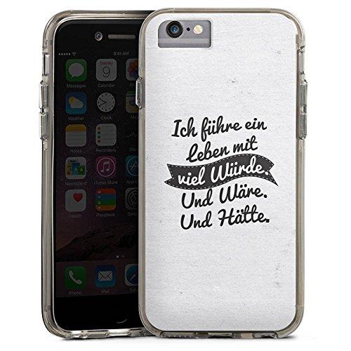 Apple iPhone 6s Plus Bumper Hülle Bumper Case Glitzer Hülle Life Vie Leben Bumper Case transparent grau