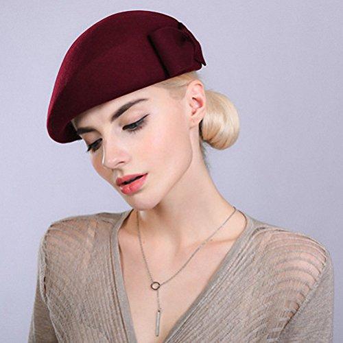 Maitose® Decorative Bow Laine Femmes Beret Cap Vin rouge